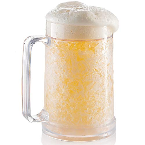 Freezer Beer Mug, Double Wall, Insulated Gel Plastic Pint Freezable Glass, 16 oz, Clear 1 pack , Chiller Frosty Cup, Frozen Ice Mug, Freezer Cup