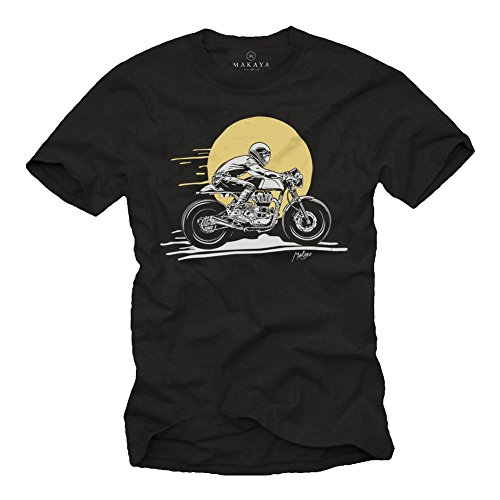 MAKAYA Cafe Racer Accesorios Moto - Enfield GT - Camiseta Motero Hombre Negro S