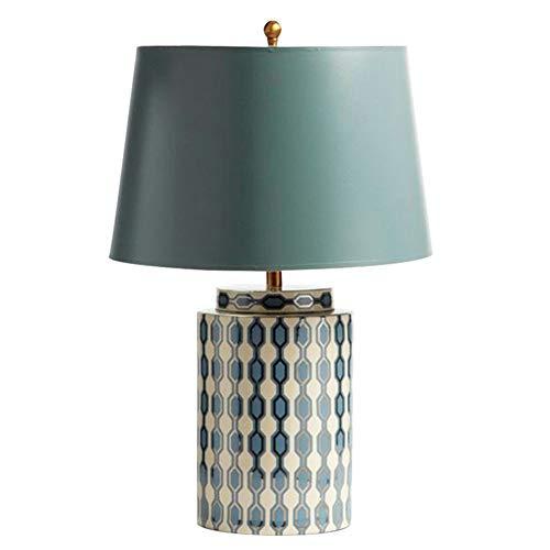 JenLn Bijzettafel lamp Europese tuin blauw keramiek tafellamp modern huis kamertafel slaapkamer nacht