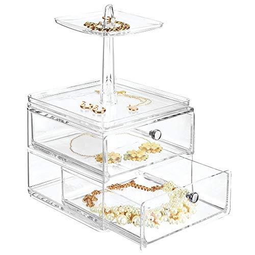 mDesign sieradenorganizer met 2 laden en 2 planken - juwelenkistje voor de commode, de was- of make-uptafel - compacte sieradenopbergdoos van kunststof - doorzichtig
