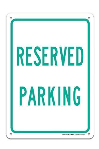 Miles2345 Schild, Motiv: Reserved Parking Green (englischsprachig), 25,4 x 35,6 cm, rostfreies Aluminium, UV-Bedruckt, mit professionellen Grafiken, einfach zu montieren, innen und außen.