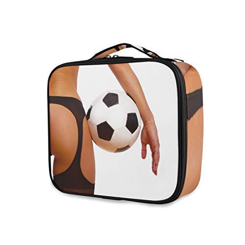 Herramientas portátiles Estuche de tren cosmético Caja de almacenamiento Bolsa de aseo Bolsa de maquillaje Chica sexy con balón de fútbol Fútbol Viaje