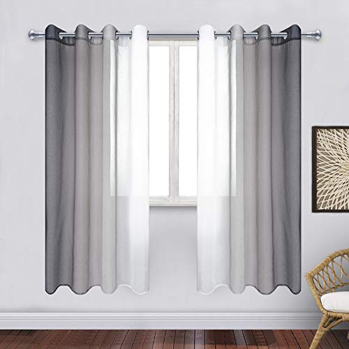 ASPMIZ Grey and White Ombre Sheer Curtains, Gray Gradient Voile Curtain Panels, Semi-Sheer Window Drapes with Grommets for ModernLiving Room Bedroom Decor, Set of 2 Panels, 52 x 63 Inch Length
