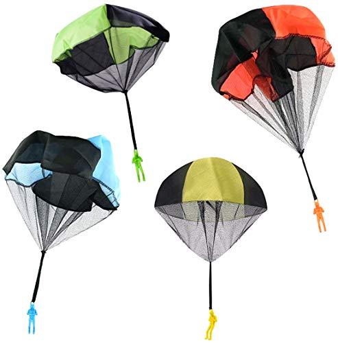 OYEFLY Fallschirm Spielzeug Kinder, Fallschirmspringer Hand werfen Fallschirm Outdoor Flugspielzeug Geschenk für Kinder, Wurf Parachute Spiele für Draußen (4 Stück)