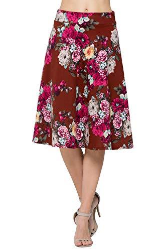 Junky Closet Women's A Line Knee Length High Waisted Skirt (Made in USA) (Small, 20447SKGZ Burgundy)
