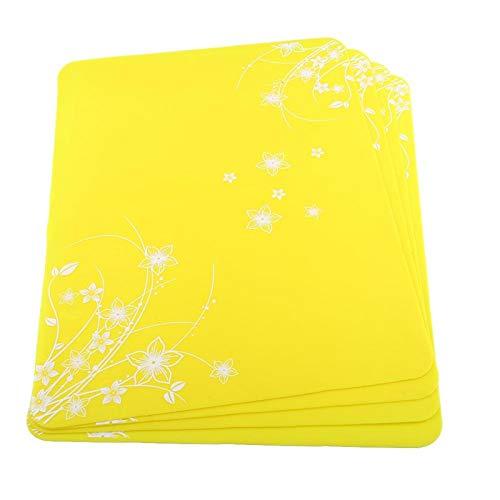 Manteles individuales, posavasos para mesas, silicona de grado alimenticio para hornear estera para mantel individual de cocina(yellow, 4 pieces)