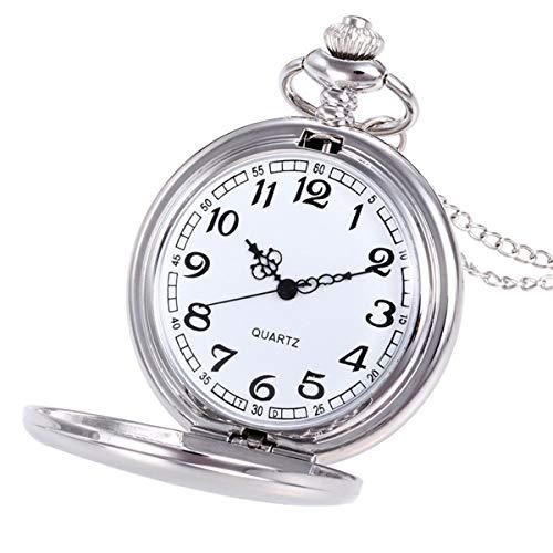 Abstand Armbanduhr FGHYH Männer Krone Unisex Mode Kette Kette Taschenuhr Bronze Uhr Watch Armbanduhr(Silber)