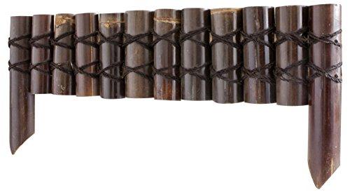 Windhager Beeteinfassung Bambus, Steckzaun, Rasenkante, Beetumrandung, Palisade, 90 x 20cm (35 cm inkl. Befestigungsfüße), 06899, 90x20/35cm