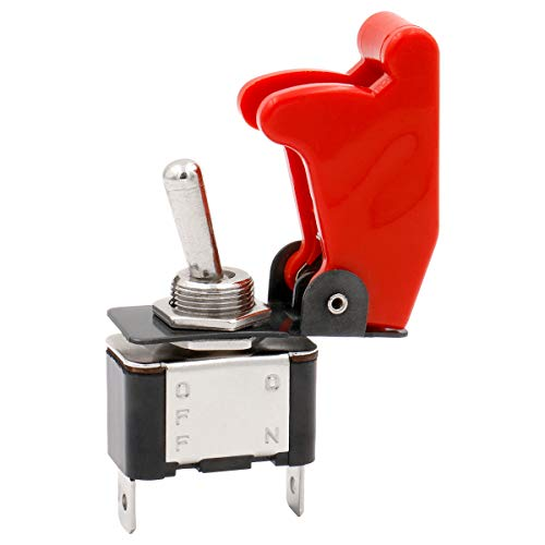 Heschen Metall-Kippschalter, Flick-Flip, 12 V, 20 A SPDT EIN/AUS, 2 Positionen, 2-polig, mit roter wasserfester Kappe