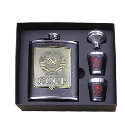 Zonster Edelstahl Alkohol Flachmann Whisky Weinflasche Trichter Tassen Flasche Kits CCCP Gravur Alkohol Container mit Box Gentlemans Geschenk, 8 Unze