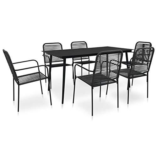 Kshzmoto 7 Partes Juego de Comedor de jardín Grupo de Asientos Muebles de jardín Mesa de jardín Juego de jardín Muebles de balcón Cuerda de algodón y Acero Negro