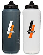Sports Water Bottles 2 Packs 32oz Squeeze Bottle BPA-free for Fitness Gym Sport Outdoor or Workout Easy to Grip Design