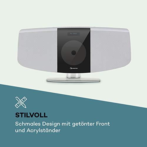 auna BlackMask Vertikal-Stereoanlage, MP3-fähiger CD-Player, FM und DAB+ Radiotuner, Bluetooth-Funktion, Blackmask Display: Negatives LCD-Display, AUX-Eingang, USB-Port, Kopfhöreranschluss, weiß