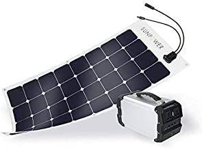 ExpertPower Alpha 400 Solar Generator with SunPower 100W Flexible Solar Panel for Emergency Backup and Outdoor Camping