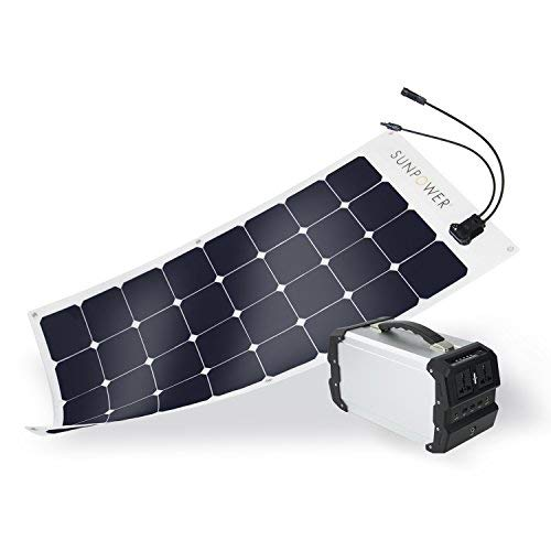 ExpertPower 444Wh Solar Generator Kit with 18V 100W SunPower 100W Flexible Solar Panel for Camping and Outdoor
