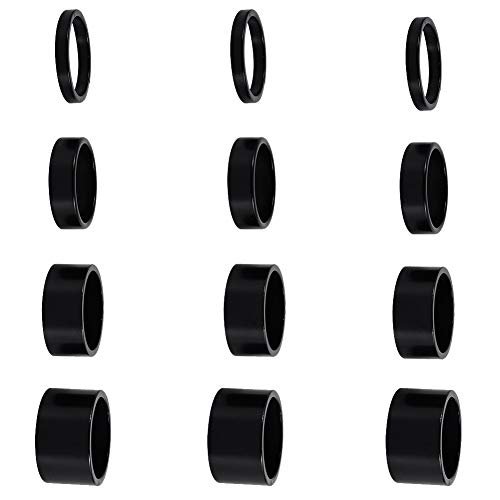 12 PCS Bicycle Headset Spacer Bike Handlebar Stem Spacers Threadless Aluminum Alloy Headset Stem Spacer Set Fit 1 1/8-Inch Stem For MTB BMX Mountain Road Bikes Cycling 2MM 3MM 5MM 10MM(Black)