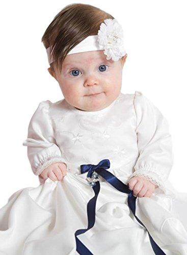 Grace of Sweden - Costume de baptême - Bébé (garçon) 0 à 24 mois blanc cassé Dark blue bow ribbons 62, 3-6 months, chest 18 in.