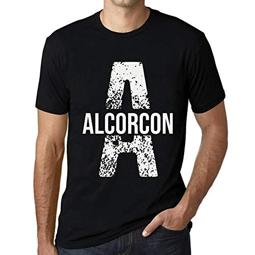 One in the City Hombre Camiseta Vintage T-Shirt Letter A Countries and Cities Alcorcon Negro Profundo Texto Blanco