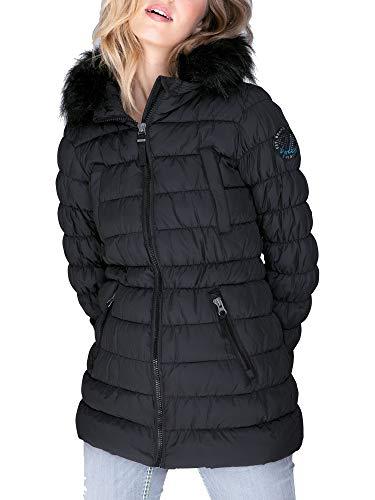 SOCCX Damen Steppjacke mit Kapuze und Fake Fur
