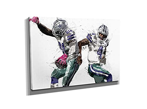 Dak and Zeke Poster Dallas Cowboys Football Painting Hand Made Posters Canvas Print Kids Wall Art Man Cave Gift Home Decor (24'x18' Ready to Hang)