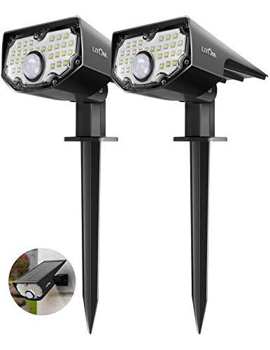 Luci Solari Esterno Giardino con Sensore di Movimento Paesaggistica Wireless 30 LED IP67 Impermeabile Faretto Terreno 2-In-1 da Parete di Sicurezza con 3 Modalità Opzionali 2 Pezzi Bianco Freddo