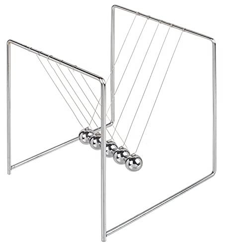 Newtons Pendule à billes avec 5 boules pour bureau Décoration idée cadeau Newton's Cradle en métal Argenté (15 x 14 x 14 cm)