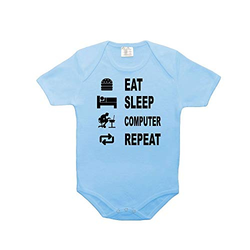 Mygoodprice Body bébé 100% Coton Eat Sleep Geek Bleu 18-23 Mois