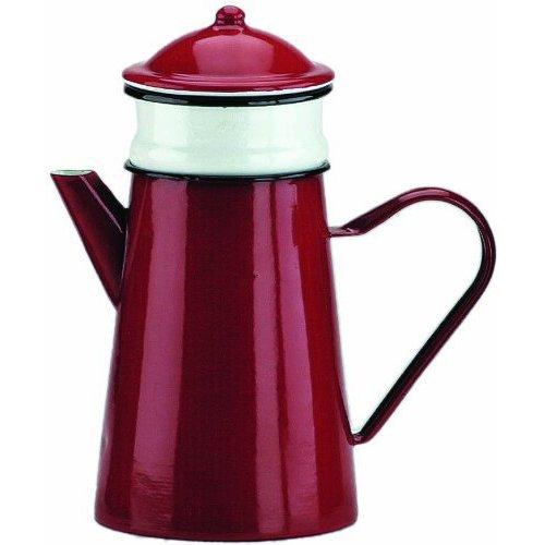 Ibili 910815 Kaffeekanne Roja mit Filter 1,5 l aus emailliertem Stahl in rot/weiß