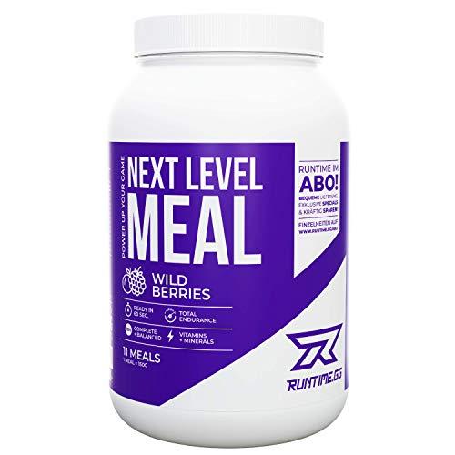 Runtime Next Level Meal - vollwertiger Mahlzeitersatz für langanhaltende Sättigung, Energie, Konzentration und Leistungsfähigkeit, mit Vitaminen und Nährstoffen (Wild Berries)