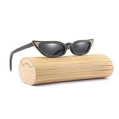 Gafas de Sol Gafas de Sol polarizadas de película de Color para Mujeres Gafas de Sol de Madera con Marco de Ojo de Gato New Hand Frame Completo Moda (Color : Black)
