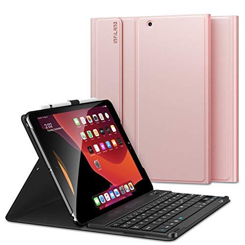 INFILAND Tastatur Hülle für iPad 10.2 2019, Ultradünn leicht Ständer Schutzhülle mit magnetisch abnehmbar Tastatur für iPad 10.2 Inch 2019 (7. Generation),Rosa Goldene