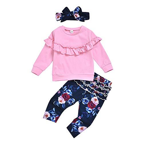 BOBORA Ensemble Bébé Filles 3PCs Vêtements Sweatshirt Chemise Bébé Fille à Manches Longues + Pantalon de Fleurs en Coton + Bandeau 0-24Mois