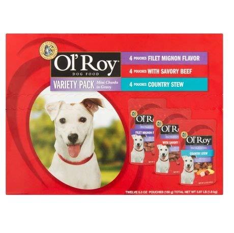 PACK OF 5 - Ol' Roy Variety Pack Mini Chunks in Gravy Wet Dog Food, 5.3 Oz, 12 Ct