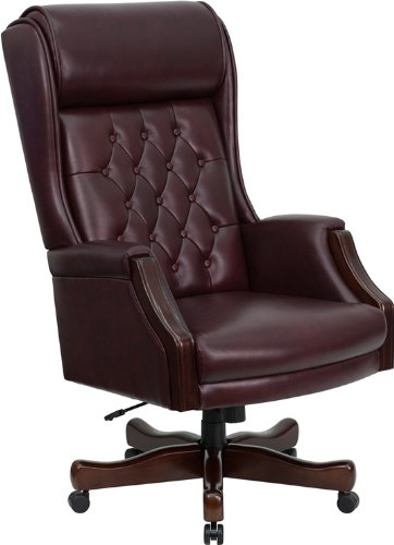Hot Sale Flash Furniture KC-C696TG-GG High Back Traditional Tufted Burgundy Leather Executive Office Chair