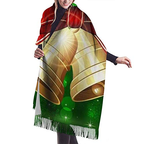 Jingliwang Schals Wickelschal Warm Women Blanket Scarf Winter Holiday Merry Christmas Xmas Gold Bells Bowknot Stylish Blanket Oversized Cozy Scarf Wrap Shawl