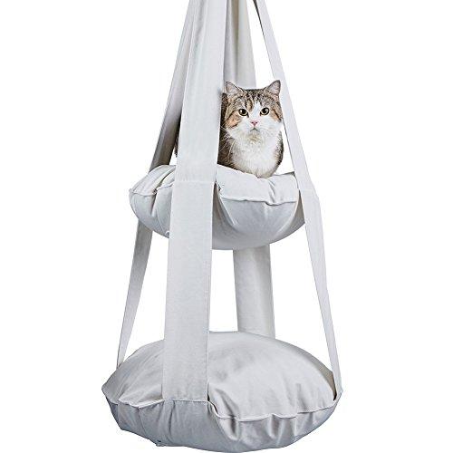 チャミ 猫 ハンモック キャット用 ハウス ペット用品 強力吸盤式 2段 取り付け簡単 さわやか ふかふか 冬夏両用 小動物用ペット用品 (ホワイト)