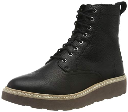 Clarks Trace Pine, Botas Slouch Mujer, Negro (Black Leather Black Leather), 38 EU