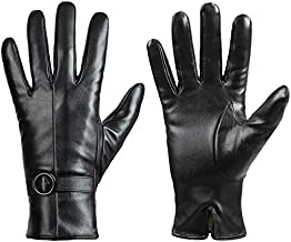 Womens Winter Leather Gloves Touchscreen Texting Warm Driving Lambskin Gloves (Black, M)