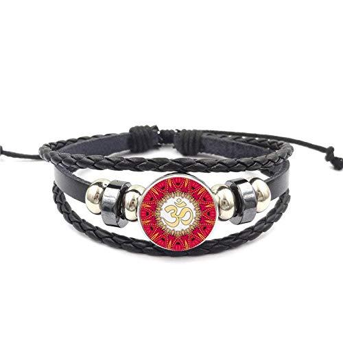 Für Mädchen Statement Maxi Vintage Schmuck Glas Cabochon Yoga Schwarz Leder Armband Armreif Schmuck Henna Yoga