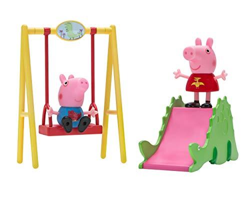 Jazwares 97049 - Peppa Wutz Dinosaurier Park Spielset mit beweglicher Peppa und Schorsch Spielfigur, Abenteuer Set mit Dino Rutsche und Schaukel, Original Peppa Pig Spielzeug für Kinder ab 2 Jahren