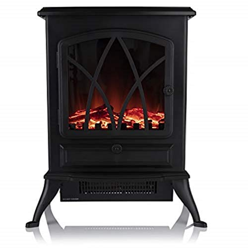 Warmlite Stirling 2 KW Compact Electric Freestanding Stove Fire with Realistic LED Log Flame Effect, Black