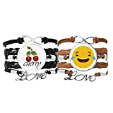 Bestchong Laugh Cry Lindo Online Chat Face Cartoon Pulsera de cuero con cuerda de cerezo amor pulsera doble