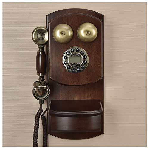 MEVIDA Vintage Drehknopf Retro Hotel Kreative Amerikanische Telefon Verkabelt Festnetztelefon Massivholz Wandhalterung (Farbe: A)