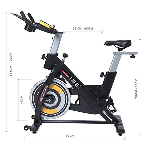 ISE Vélo d'appartement de Fitness Cardio Exercice Bike Intérieur, Poids d'inertie de 15 KG avec Programme et l'Ecran Silencieux, Guidon et Siège Réglables