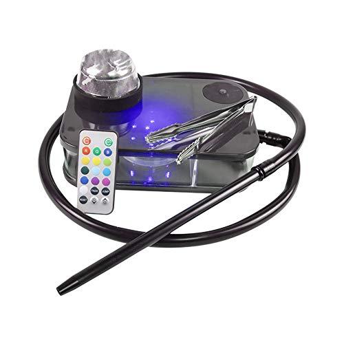 Moderno Acrílico Cachimba Kit Completo Portátil Shisha Nargile Fumadores De Pipa De Agua con La Caja De Luz Led De Control Remoto (Negro)