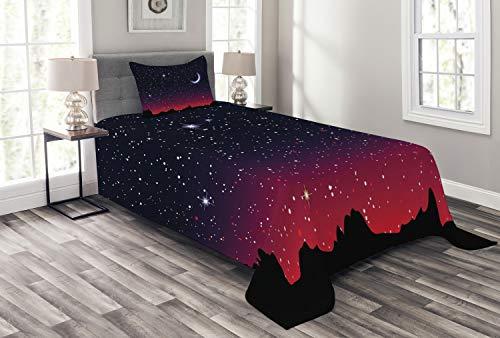 ABAKUHAUS Nacht Tagesdecke Set, Red Sky Starry Landschaft, Set mit Kissenbezug farbfester Digitaldruck, für Einselbetten 170 x 220 cm, Indigo Magenta Black