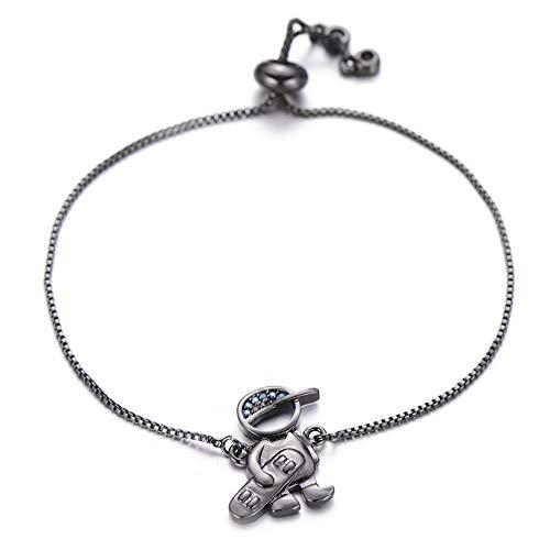 CHEMOXING Lovely Cubic Zirconia Scooter Boy Family Bracelet Copper Adjustable Chain Figure Charm Bracelets for Women Boys Jewelry