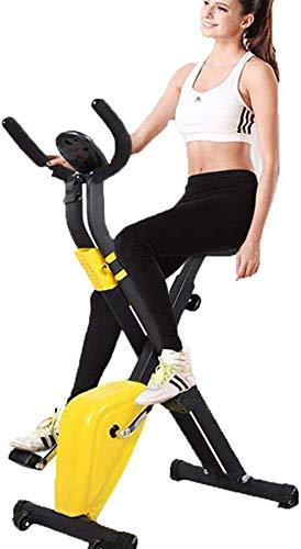 WGFGXQ Bicicleta estática Plegable para Ejercicios Pantalla LCD Asiento y manijas cómodos Bicicleta reclinada Vertical estacionaria con una Capacidad de Peso máxima de 100 kg