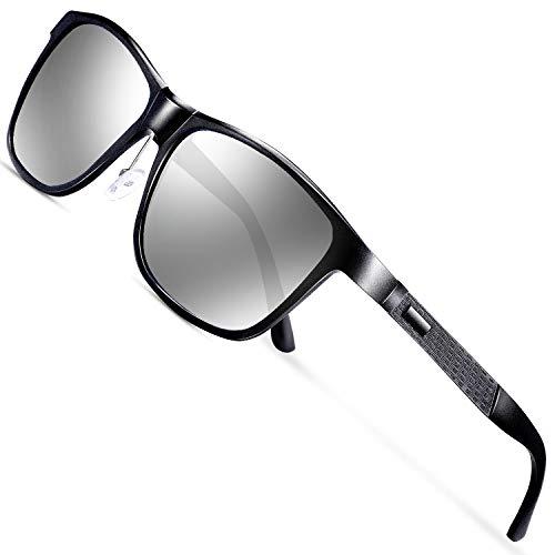 wearPro Gafas de sol polarizadas para hombre, gafas de sol polarizadas para hombre, gafas de sol para hombre, montura de metal Al-Mg, ultraligeras Plateado Sliber/negro.