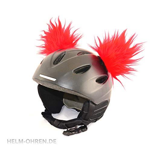 """Helm-Ohren\""""Rot\"""". Gemacht für den Skihelm, Snowboardhelm, Kinder-Skihelm, Fahrradhelm oder Motorradhelm - macht den Helm zu einem echten HINGUCKER - für Kinder und Erwachsene HELMDEKORATION"""